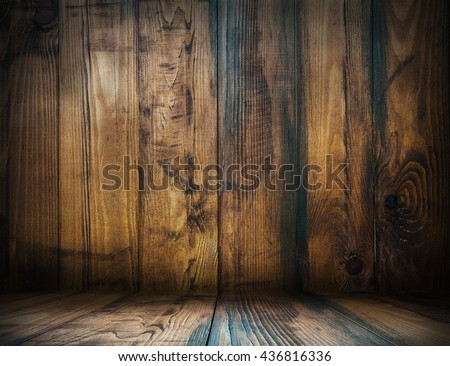 Wood.Wood room.Wood interior.Wood studio template. Old wooden background for montage or product presentation. 3D illustration #436816336
