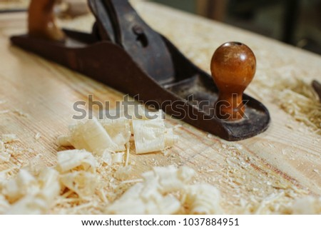 Wood working tools Vintage Saw Tool, Planer and wood shavings. 