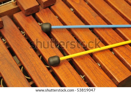 Wood xylophone and mallets. A photo close up. Original color #53819047
