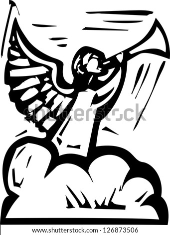 Woodcut expressionist style image of an Angel in cloud blowing a trumpet.