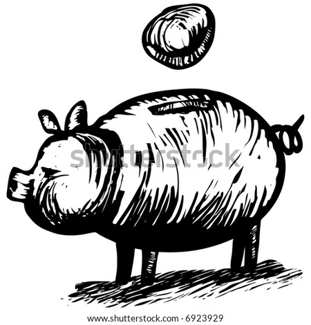 Woodcut Piggy Bank - financial concept for savings. Artwork was done woodcut / engraving style.
