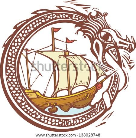 Woodcut style image of a dragon encircling a pirate ship.