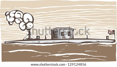 Woodcut style image of the Union Civil War Ironclad warship Monitor.