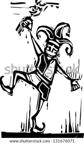 Woodcut style jester jumping about and laughing