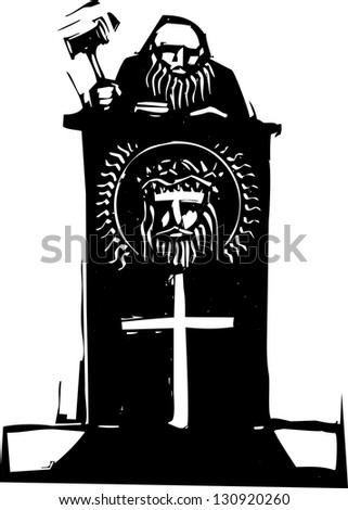 Woodcut style judge sitting atop his bench with religious iconography.
