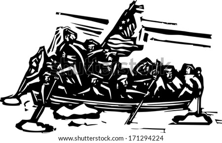 Woodcut style representation of George Washington crossing the Delaware river.