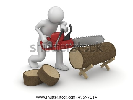 Woodcutter at work (3d isolated on white background characters series)