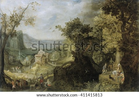 Wooded Landscape, by Anton Mirou, 1608, Flemish painting, oil on canvas. Mountainous landscape with riders and walkers on a path through a forest at right, and hunters at lower left. In the mid-groun