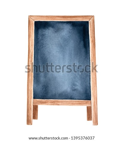 Wooden A-frame chalkboard display sign. One single object, front view. Hand drawn watercolour painting on white background, cutout clip art element for creative design, to place price or text message.