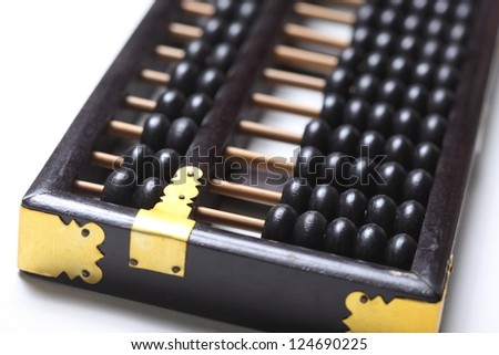 wooden abacus on white
