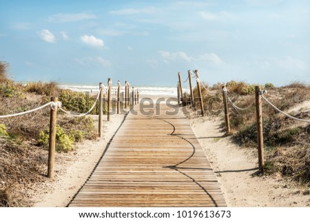 Wooden access to the beach, Canet, Valencia, Spain Stock photo ©