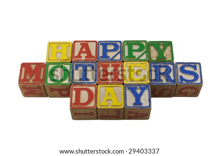 wooden alphabet blocks lined up in a row spelling Happy Mothers Day
