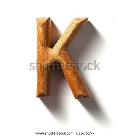 Wooden alphabet letter with drop shadow on white background, K