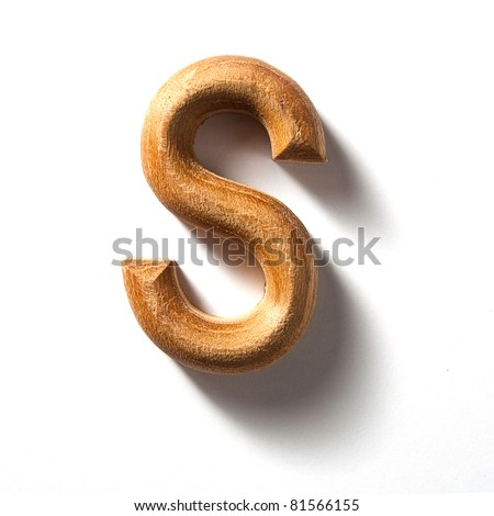 Wooden alphabet letter with drop shadow on white background, S