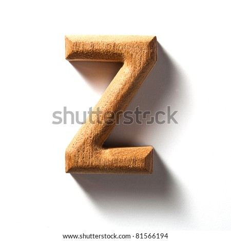 Wooden alphabet letter with drop shadow on white background, Z