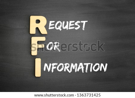 Wooden alphabets building the word RFI - Request For Information acronym on blackboard #1363731425