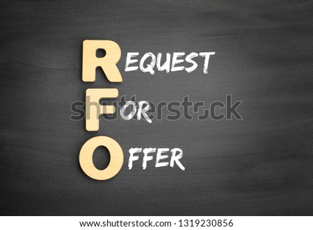 Wooden alphabets building the word RFO - Request For Offer acronym on blackboard #1319230856