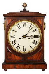 Wooden ancient clock isolated on a white background