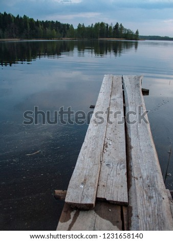 wooden and composite material foot bridge over water in green summer forest surroundings with lake #1231658140
