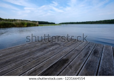 wooden and composite material foot bridge over water in green summer forest surroundings with lake #1231664554