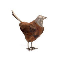 Wooden and metal bird figurine isolated on a white background