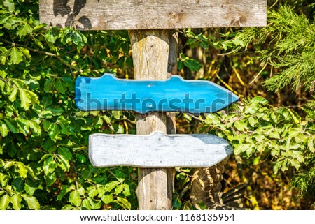 Wooden arrow sign with arrows in colors pointing in the right directions #1168135954