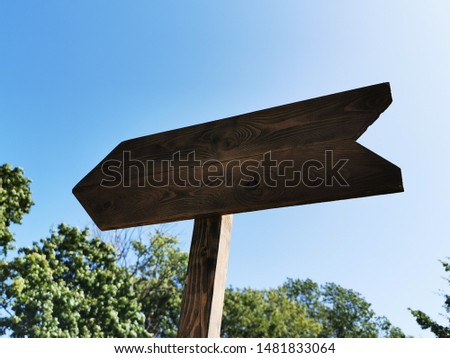 Wooden arrow (track blank, cursor,  road sign) with space for text #1481833064
