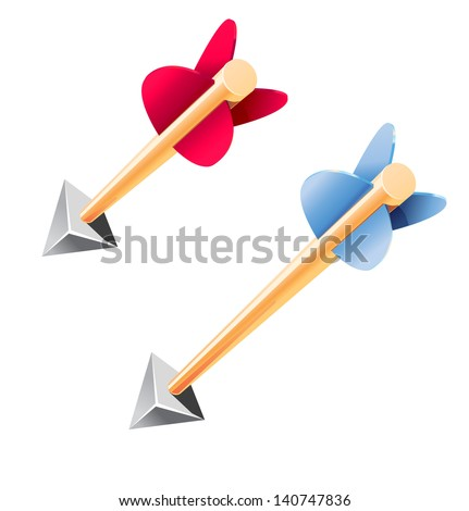Wooden arrows with metal tips isolated on white