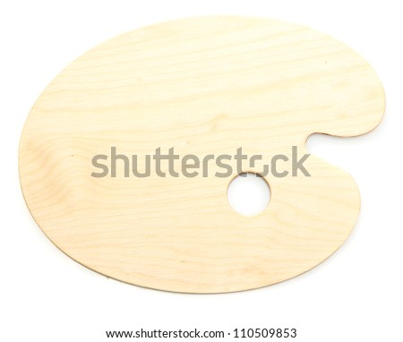 wooden art palette isolated on white