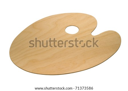 wooden art palette isolated on white background