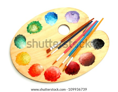 wooden art palette with paint and brushes isolated on white #109936739