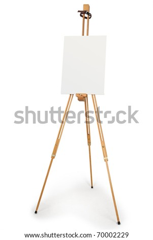 wooden artist easel with blank canvas isolated on white