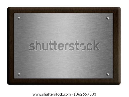 Wooden award plaque with silver plate 3d illustration isolated on white