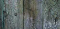 Wooden background. Cracked green paint on weathered wooden surface. Panoramic, Hi-res banner.