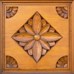 Wooden background with beautiful wood carving with flowers square