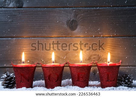 Stock Photo Wooden background with Christmas candles