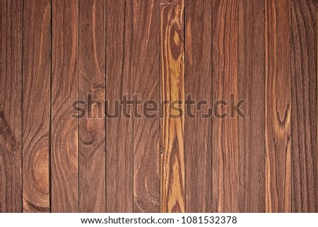 Wooden background with copyspace, brown striped timber desk, old table or floor #1081532378