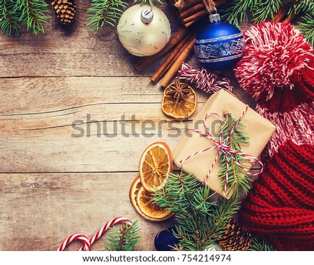Wooden background with gifts. Selective focus.  #754214974