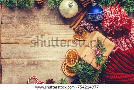 Wooden background with gifts. Selective focus.  #754214977