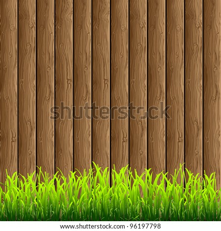 Wooden background with green grass