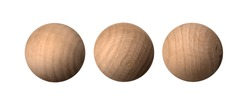 Wooden ball spheres isolated with clipping path on a white background