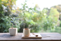 Wooden bamboo cup and plate and wooden spoon with plant pot on table