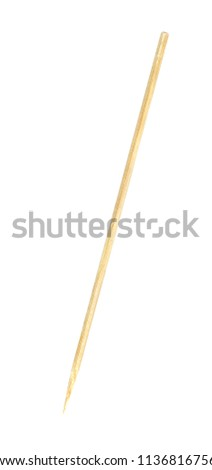 wooden bamboo pointed tip stick thin isolated on white background, single tipped wooden bamboo chopstick for skewer foods, bamboo sticks or wooden skewers used to hold pieces food
