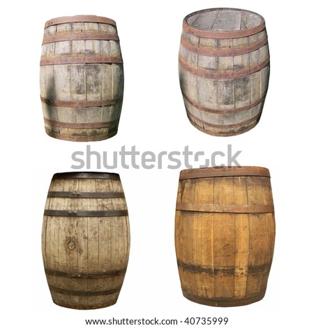 Wooden barrel cask for wine or beer isolated over white