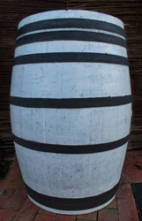 Wooden barrel for wine painted white