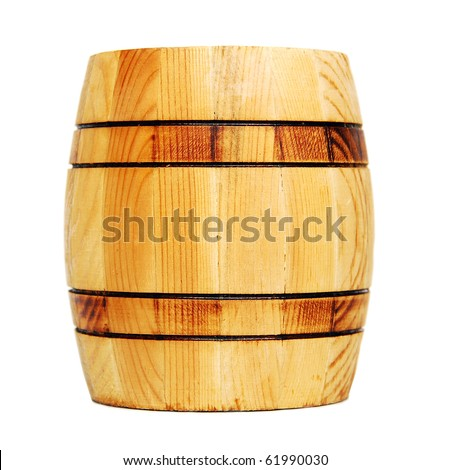 Wooden barrel, isolated on white