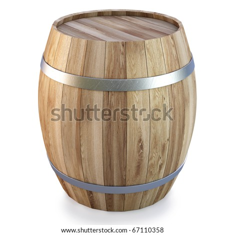 Wooden barrel. isolated on white