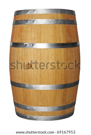 Wooden barrel isolated on white background