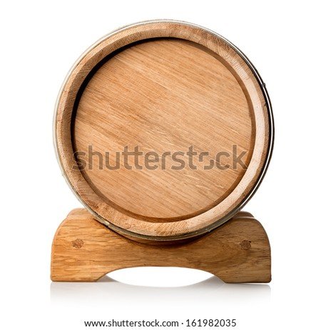 Wooden barrel on the stand isolated o white