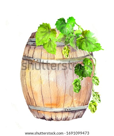 Wooden barrel with hop watercolor raster illustration. Old oak keg with wine, beer aquarelle painting. Vintage winemaking, alcohol beverage brewing symbol isolated on white background